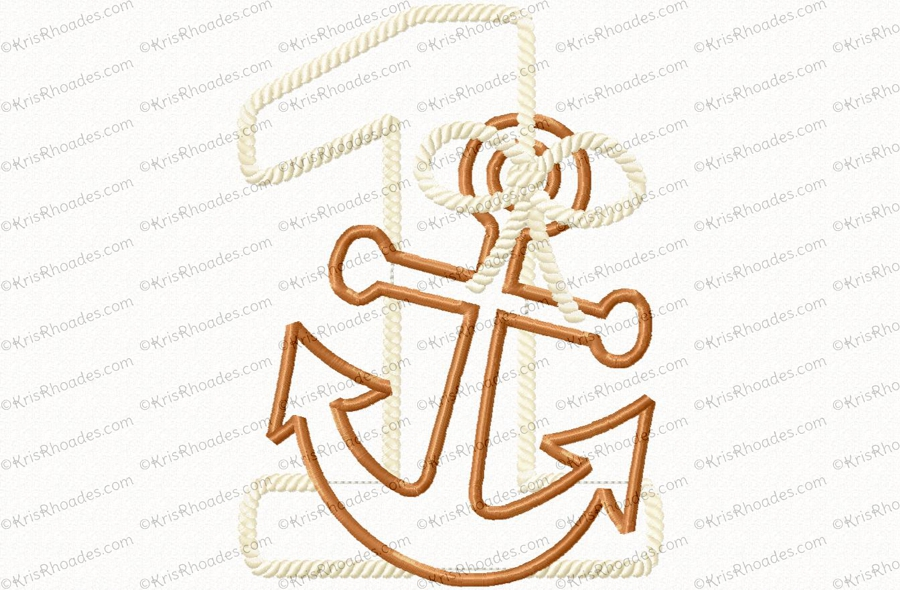 Nautical st with applique. Anchor clipart birthday