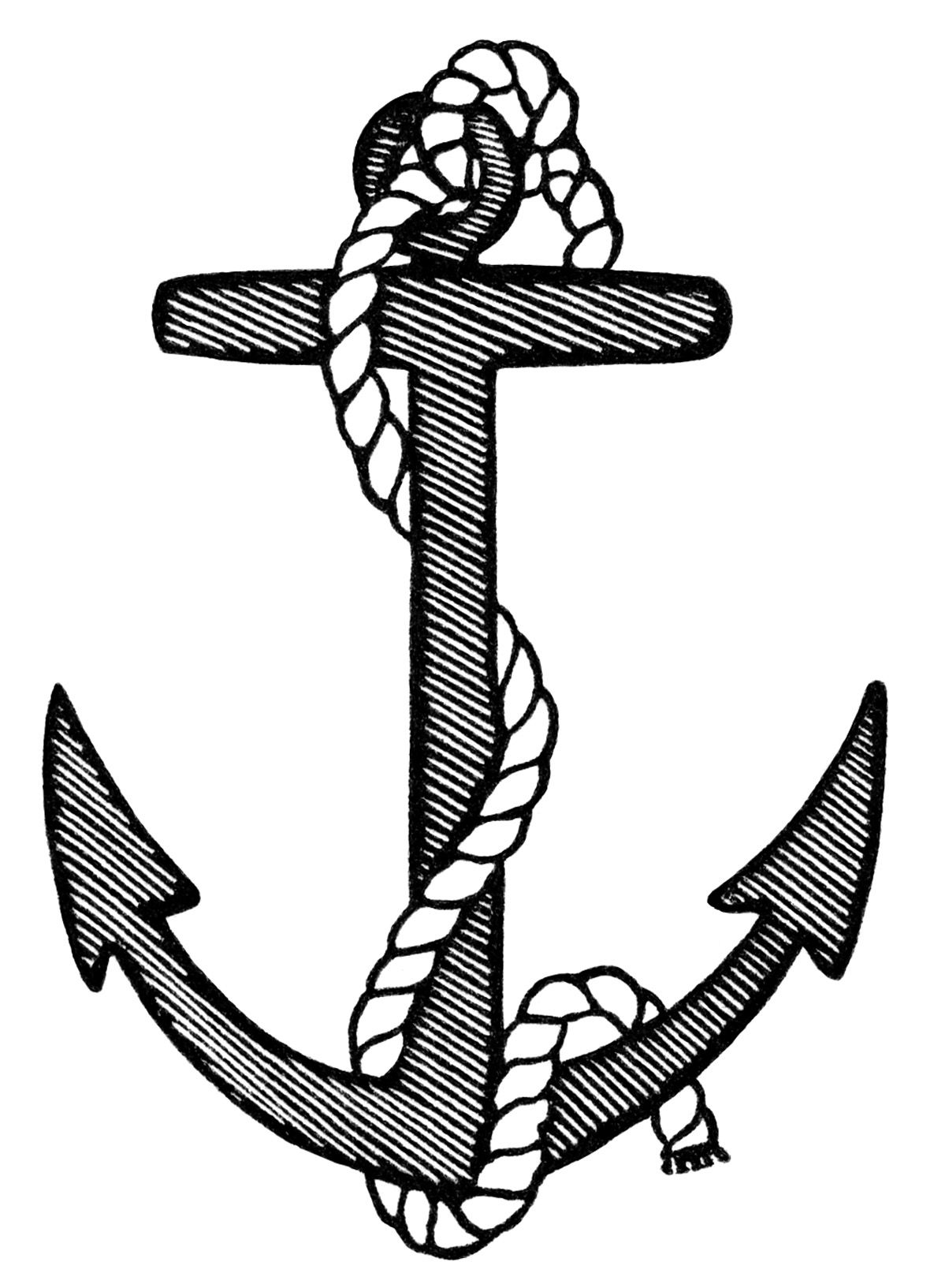 Crossed anchors best pinterest. Anchor clipart black and white