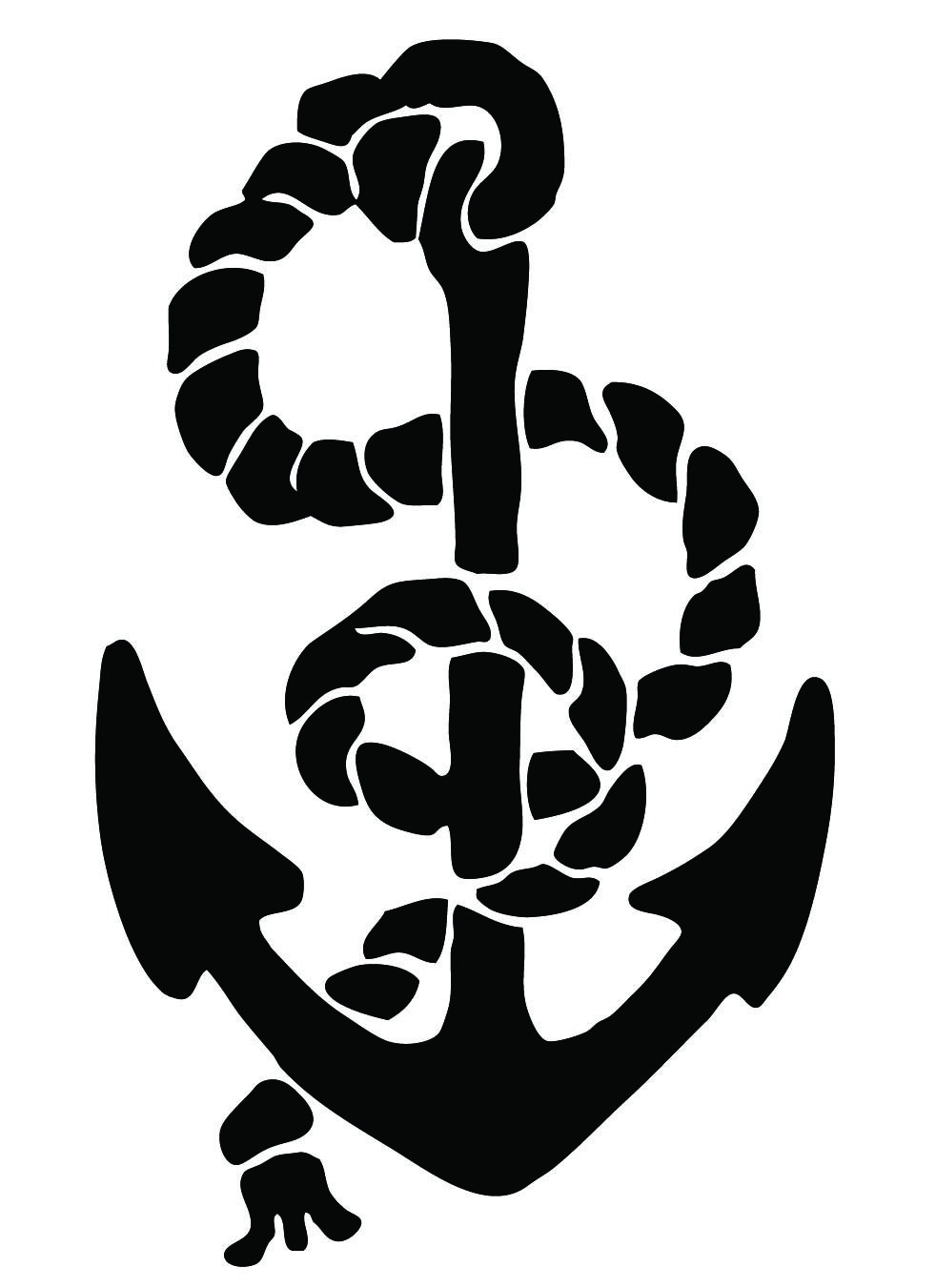 Anchor clipart black and white. Nautical letters vintage clip