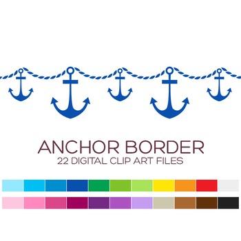 Anchor clipart borders. Nautical border digital x