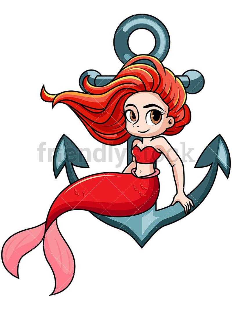 Anchor clipart cartoon. Mermaid sitting on vector