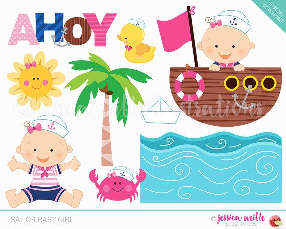 Sailor baby girl cute. Anchor clipart cartoon