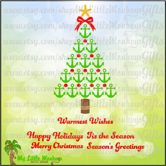 Nautical tree with greetings. Clipart anchor christmas