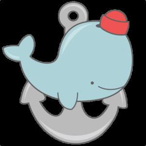 Whale with svg cut. Anchor clipart cute