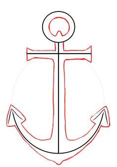 Draw an string art. Anchor clipart easy