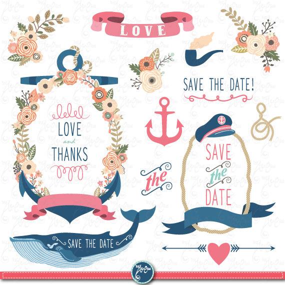 Wedding flora clip art. Bell clipart nautical