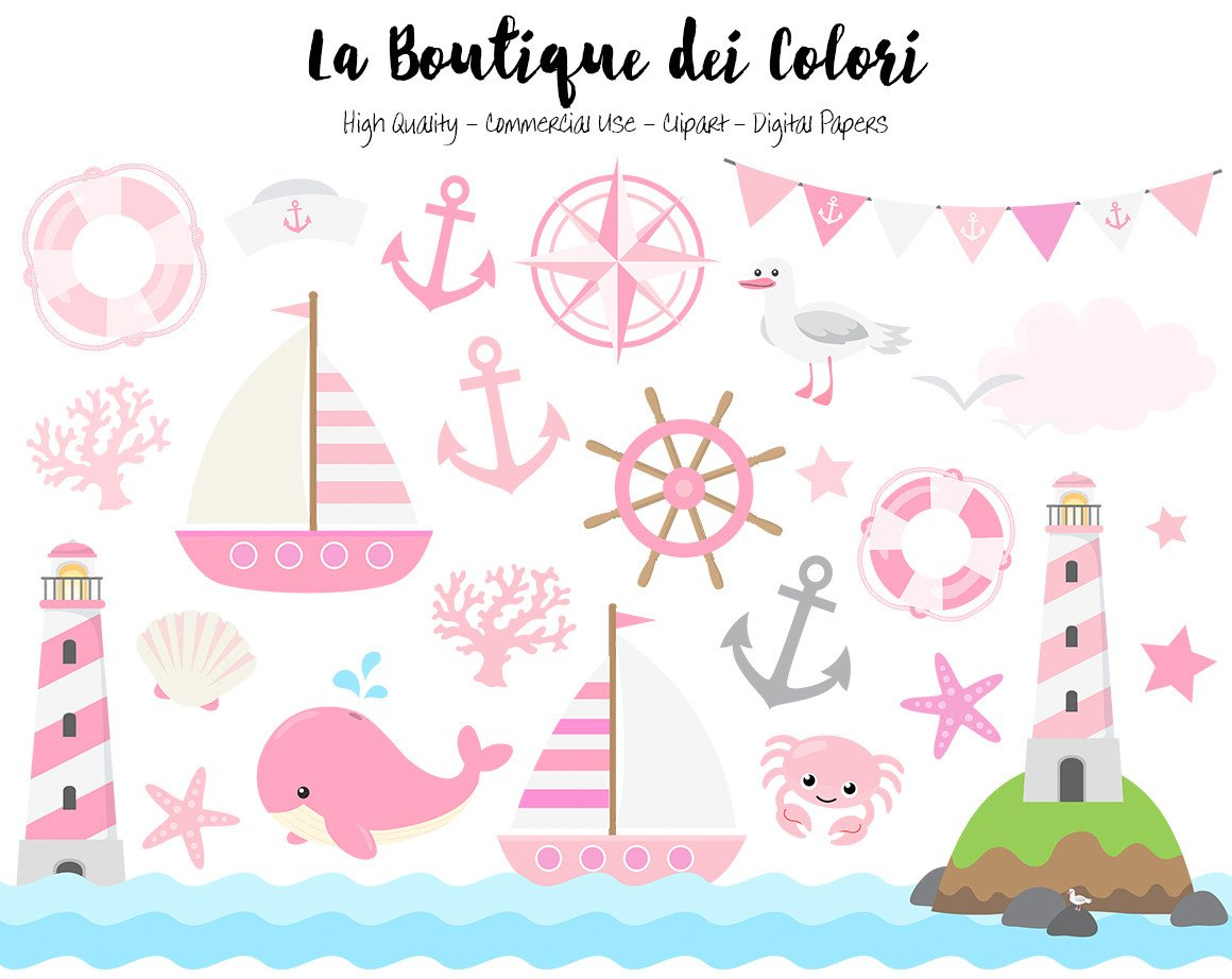 Baby pink nautical vector. Anchor clipart girly