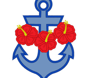 Etsy hawaii flowers appliques. Anchor clipart girly