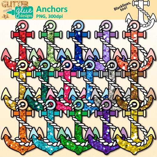Nautical teacher clip art. Anchor clipart glitter