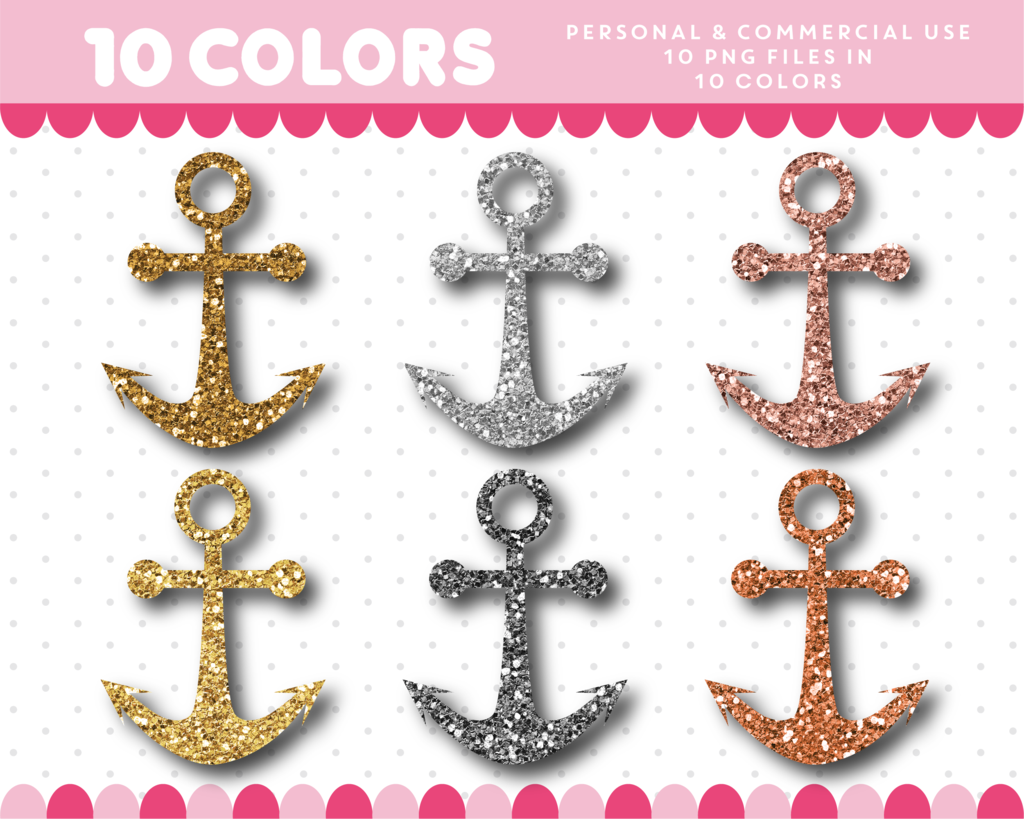 Clipart anchor gold glitter. In and silver