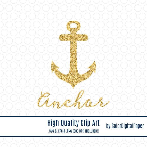 Gold svg clip art. Anchor clipart glitter