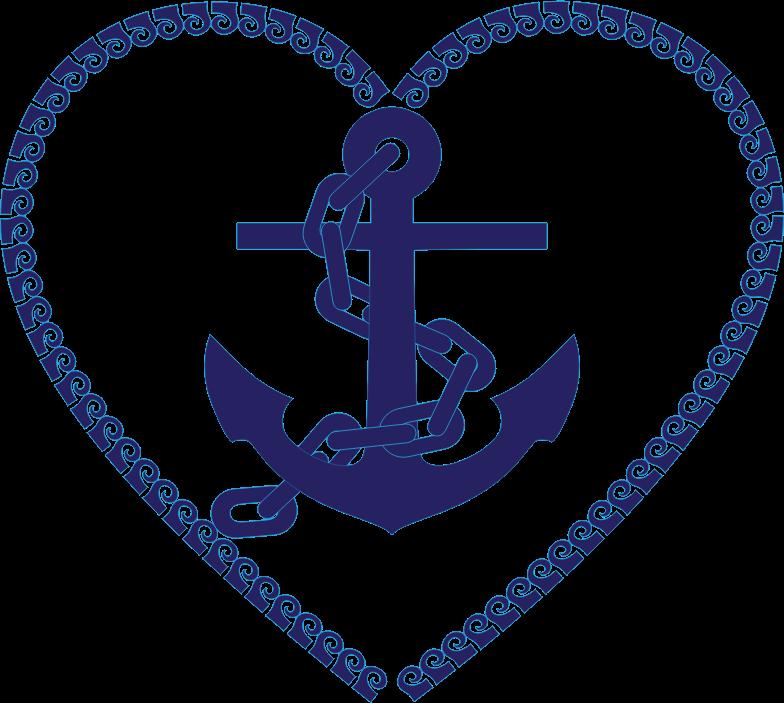 Clipart anchor circle. Nautical heart medium image
