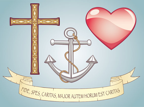 Vector set symbols faith. Anchor clipart hope