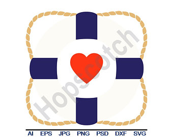 Anchor clipart life preserver. Svg etsy heart dxf