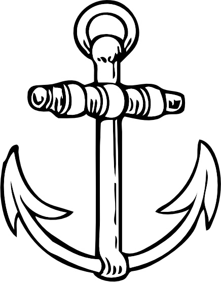 Clip free vector in. Anchor clipart line art