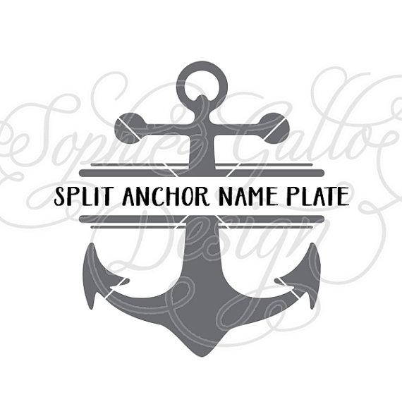 Split svg png dxf. Anchor clipart monogram