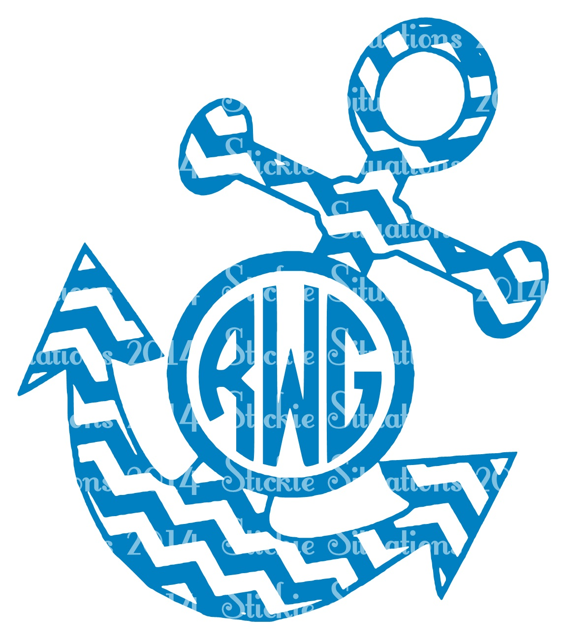 Anchor clipart monogram. Chevron decal stickie situations