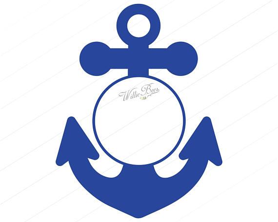 Circle frame . Anchor clipart monogram