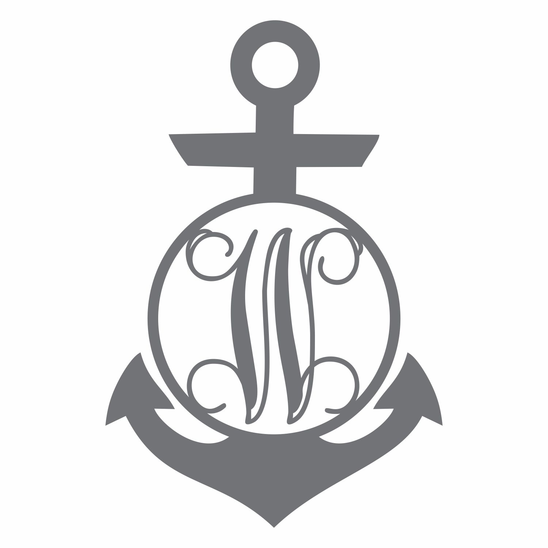 Anchor clipart monogram. Circle with vine enc
