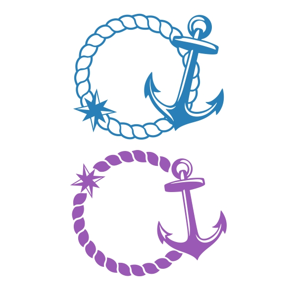 Rope and cuttable design. Anchor clipart monogram