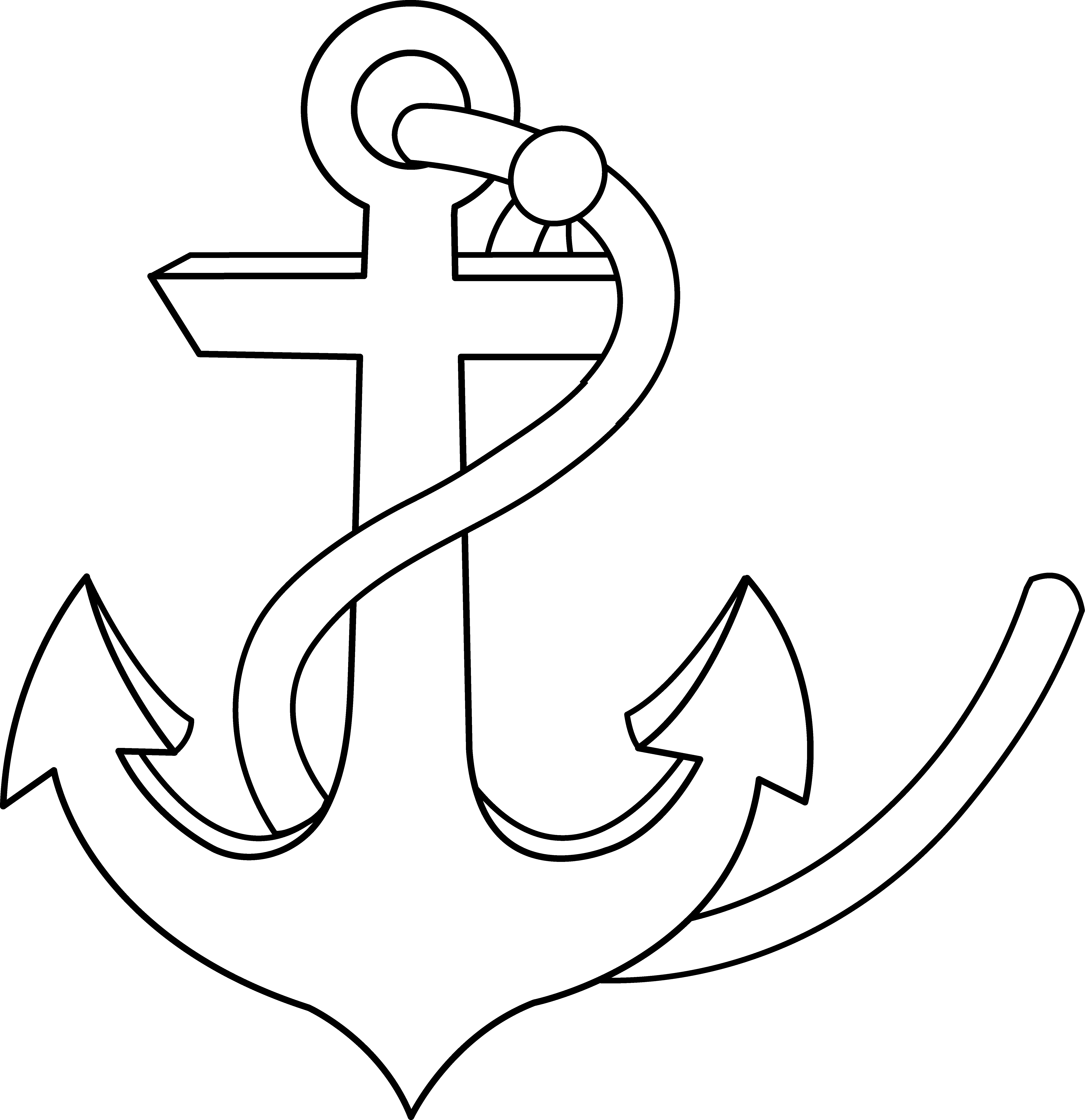 Clipart anchor outline. Line art free clip