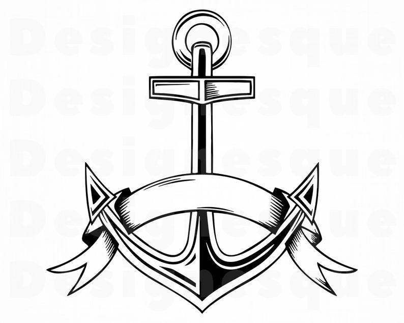 Svg nautical files for. Anchor clipart outline