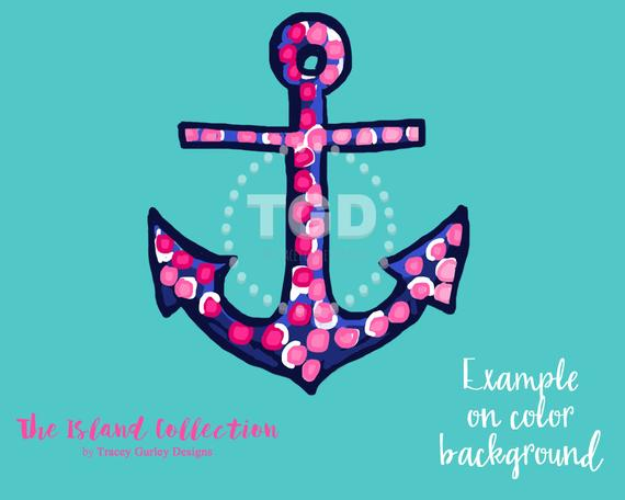 Pink and navy clip. Anchor clipart preppy