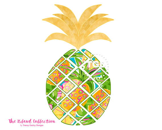 Pineapple clip art original. Anchor clipart preppy
