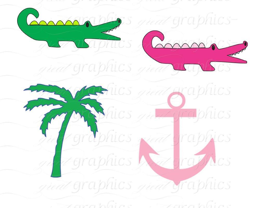 Clip art digital alligator. Anchor clipart preppy