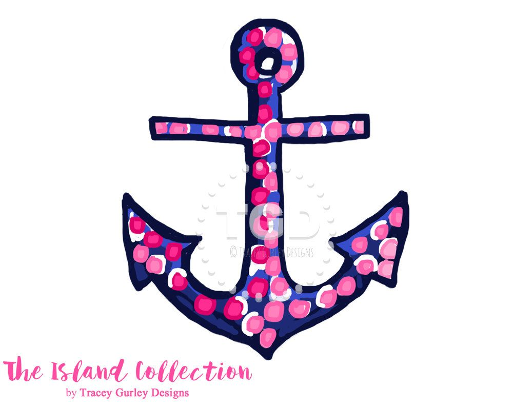 Anchor clipart preppy. Pink and navy clip