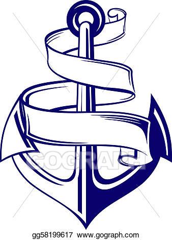 Vector stock with clip. Clipart anchor ribbon