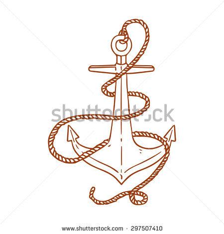 Drawn rope pencil and. Anchor clipart ribbon
