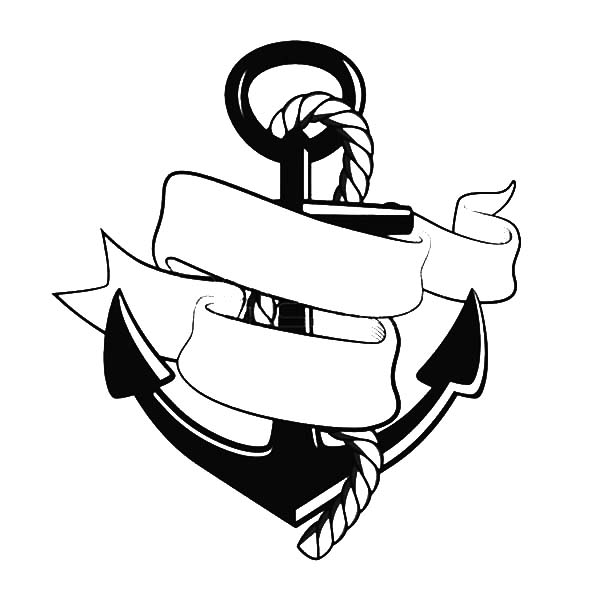 Anchor clipart ribbon. Outline drawing at getdrawings