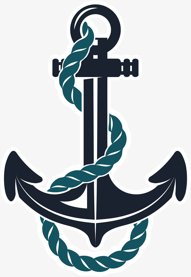 Hand painted black simple. Anchor clipart rope