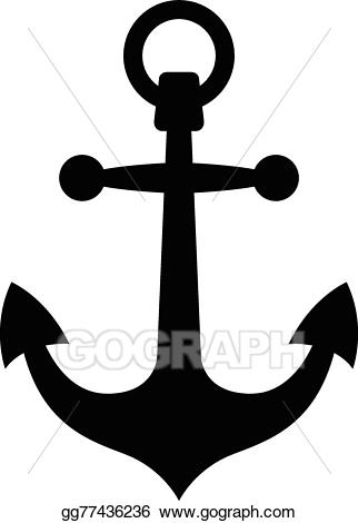 Vector illustration simple black. Anchor clipart silhouette