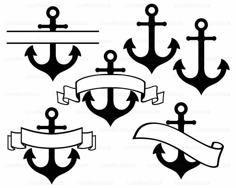 Clipart anchor silhouette. Svg cricut cut files