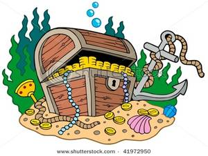 Anchor clipart underwater. Treasure chest on sea