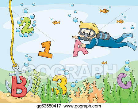 Vector illustration scene with. Anchor clipart underwater
