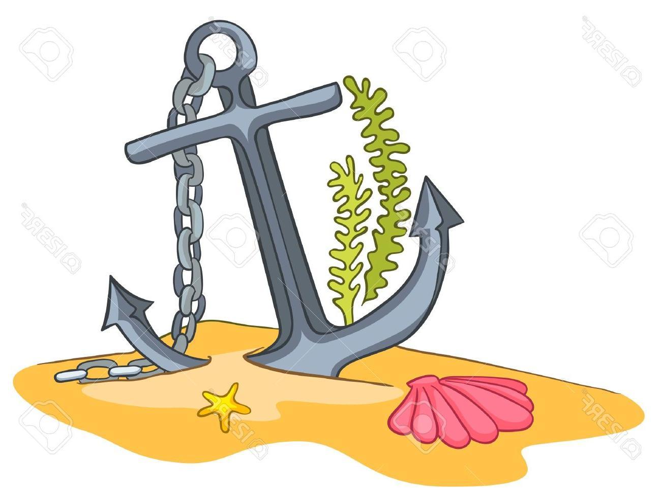 Clipart anchor underwater. Unique cartoon design vector