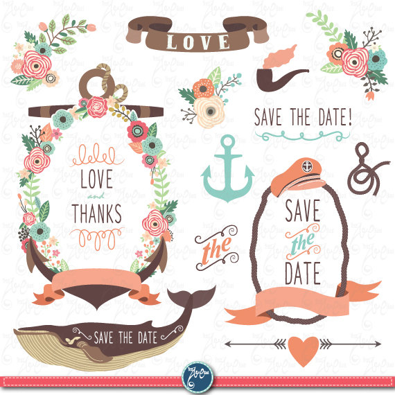 Anchor clipart vintage. Wedding pack floral nautical