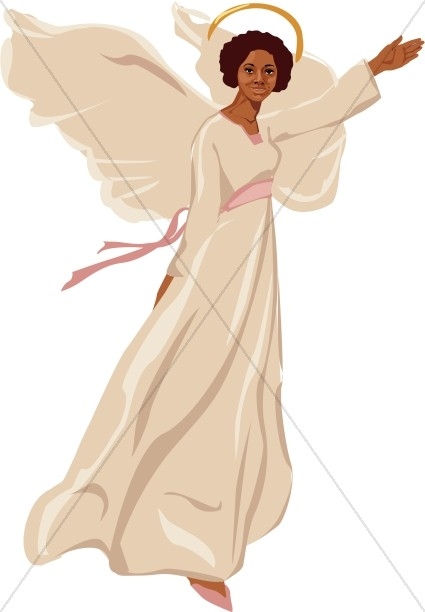Angels clipart african american. Female angel flying