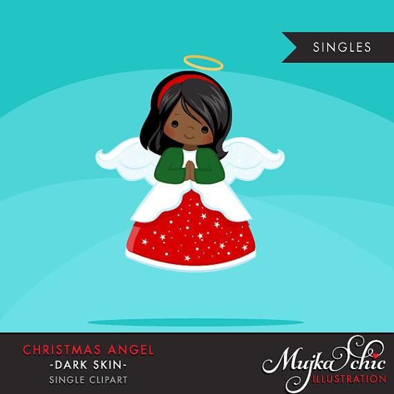 Christmas angel dark skin. Angels clipart african american