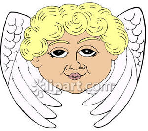 An s and wings. Angel clipart angel face