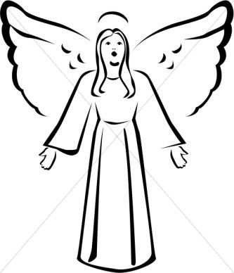 Angel clipart angel face. Black and white singing