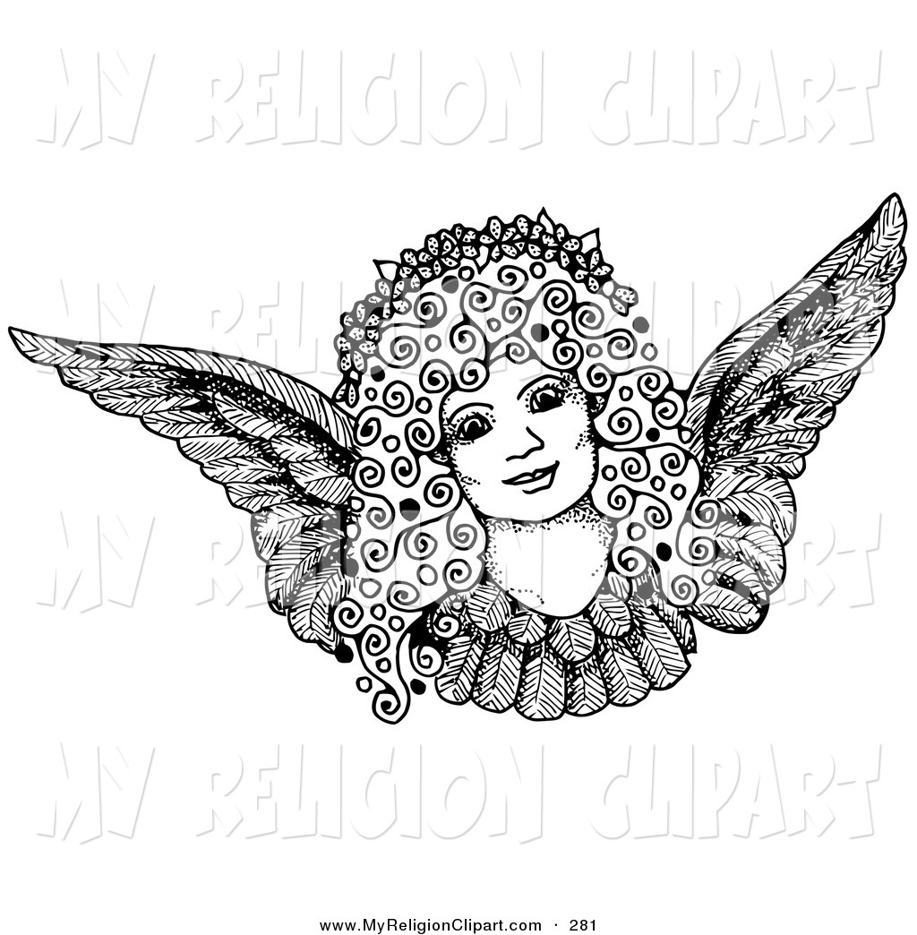 Angel clipart angel face. Religion clip art of