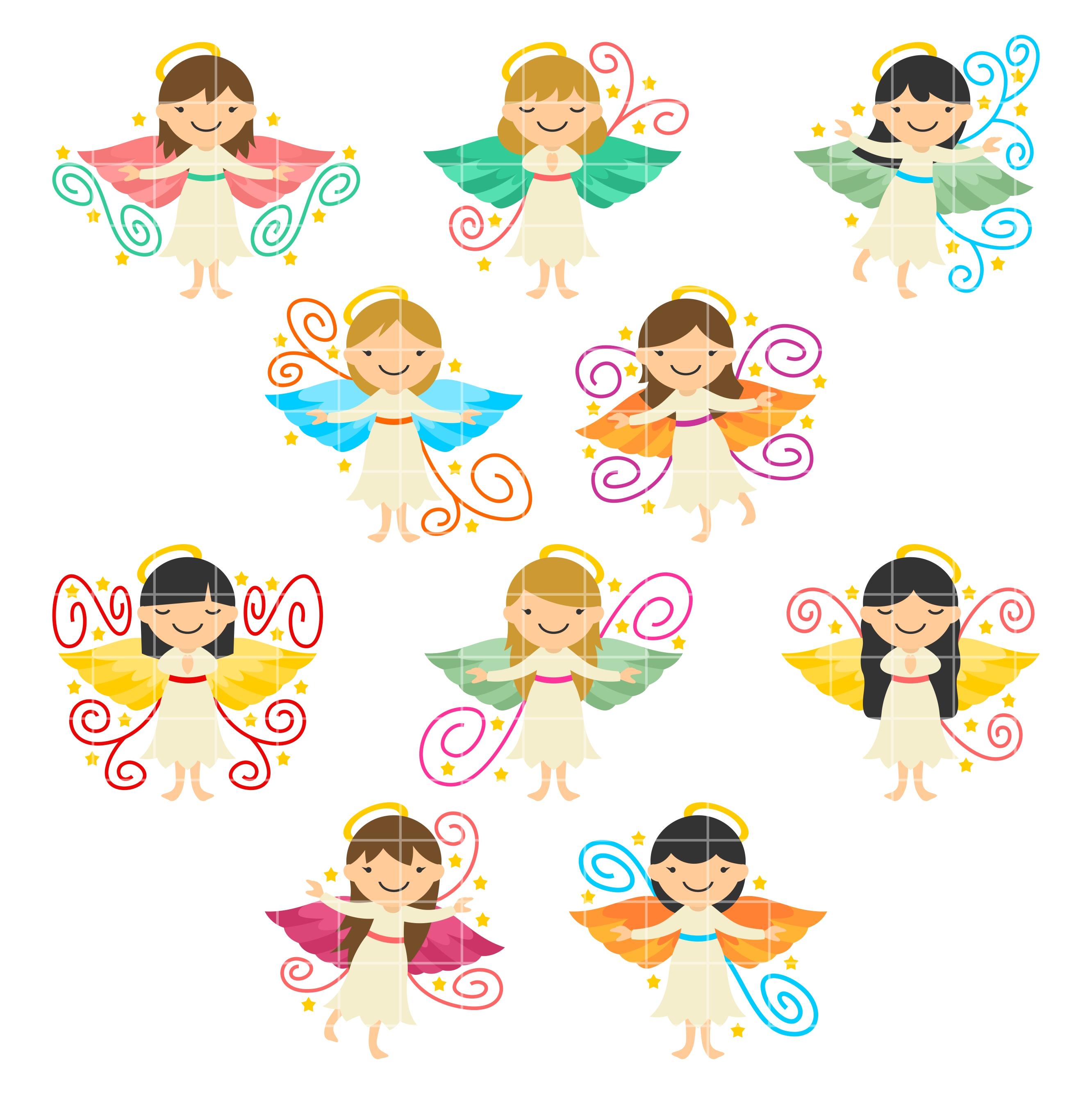 Angel clipart angelic. Angels set semi exclusive
