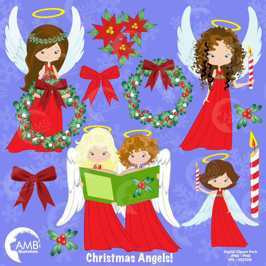 Angel clipart angelic. Christmas angels in red