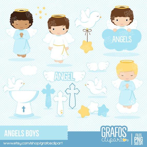 Angel clipart baptism. Angels boys digital set