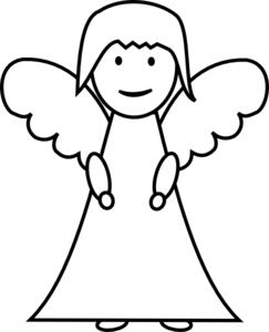 Simple outline . Angel clipart basic