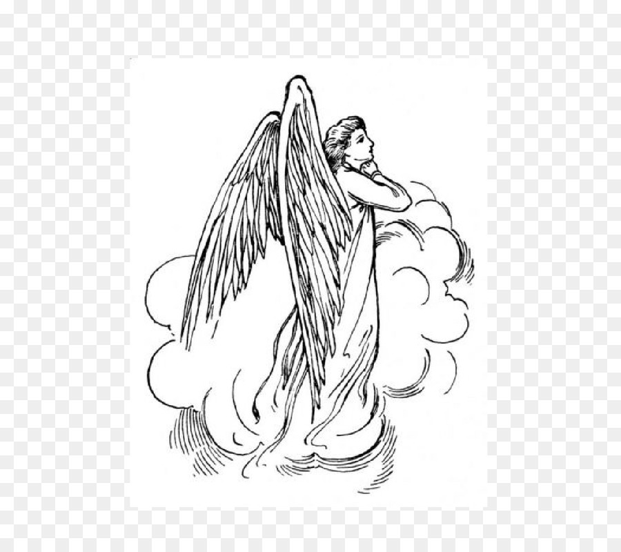 Black and white bird. Angel clipart book
